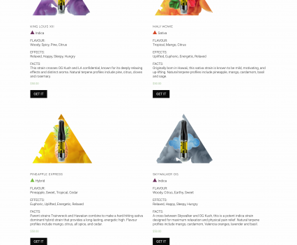 Your Elements strain selection page - Liddleworks