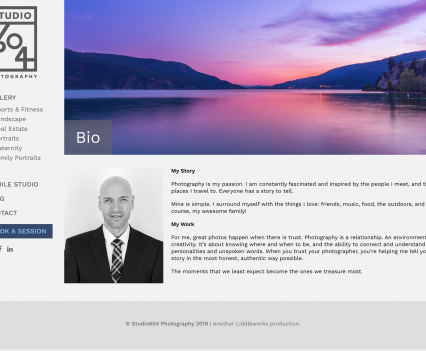 Studio 604 Photography bio page - Liddleworks