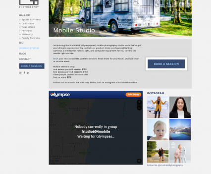 Studio 604 Photography mobile studio page - Liddleworks