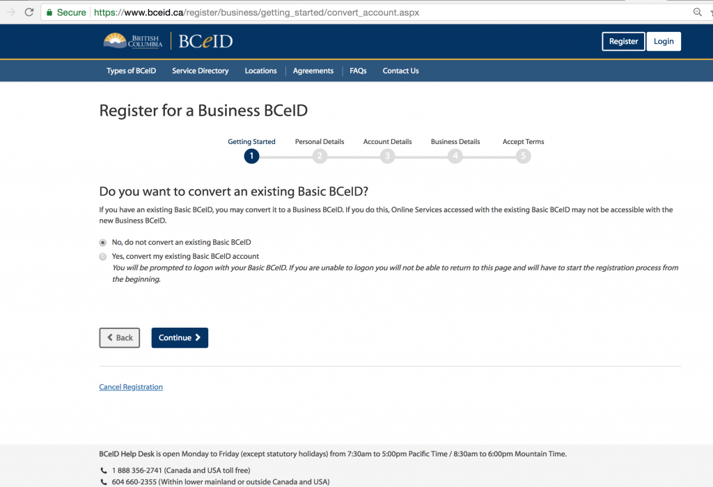 Apply for the BCecID 8