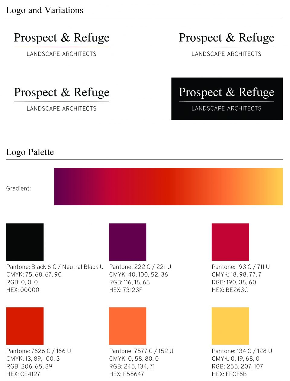 Logos and colours Prospect & Refuge