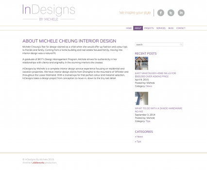 Indesigns by Michele about page - Liddleworks