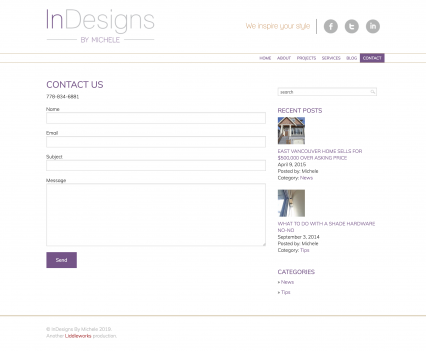 Indesigns by Michele contact page - Liddleworks
