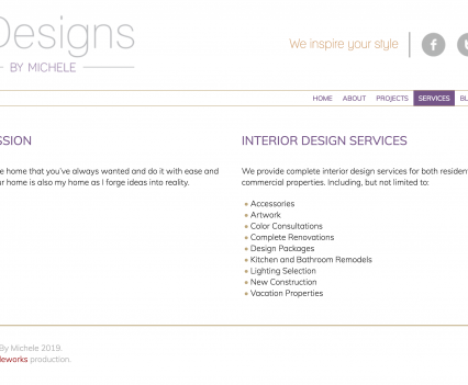Indesigns by Michele services page - Liddleworks