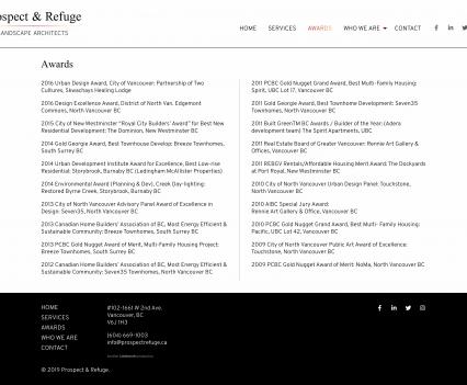 Prospect & Refuge awards page - Liddleworks