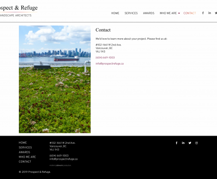 Prospect & Refuge contact page - Liddleworks