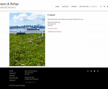 Prospect & Refuge contact page - Liddleworks