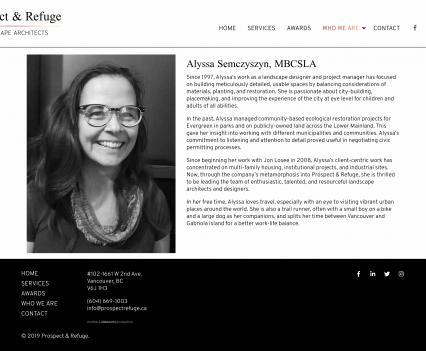 Prospect & Refuge bio page - Liddleworks