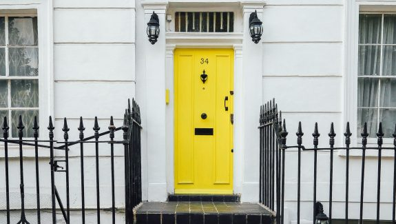 bright Yellow house door